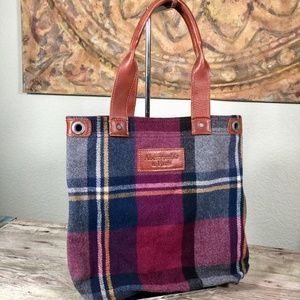 Abercrombie & Fitch wool plaid leather handle tote